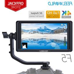 "FEELWORLD F5 5"" HD 4K HDMI Camera Field DSLR Monitor with Ti"