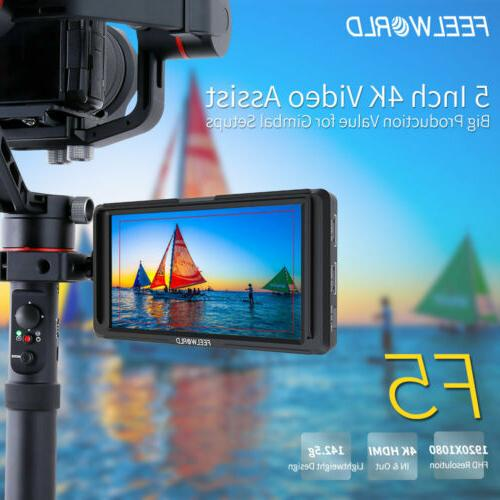 """FEELWORLD F5 5"""" 4K HDMI DSLR with Arm for"""