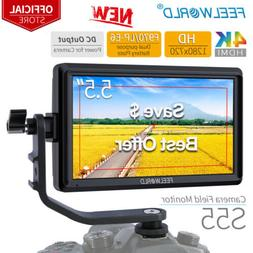"FEELWORLD S55 5.5"" Camera Field DSLR Monitor with Tilt Arm S"